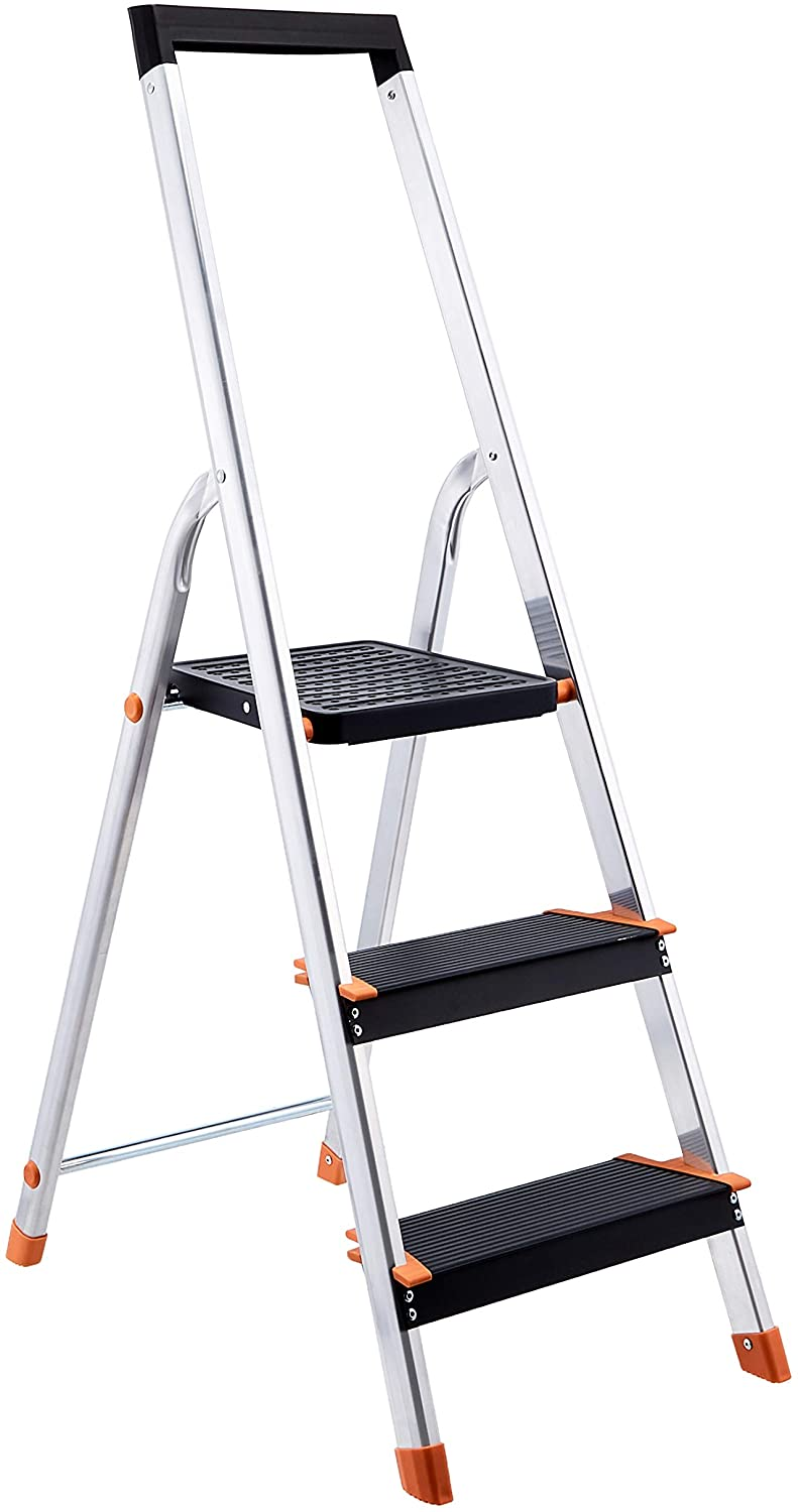 fiberglass ladder with paint tray
