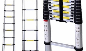 Safest Telescopic Ladder with Stabiliser Bar, Roof hooks & Soft Close