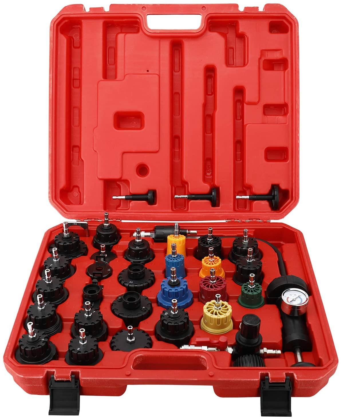 8MILELAKE 33Pcs Radiator and Cap Pressure Tester Kit