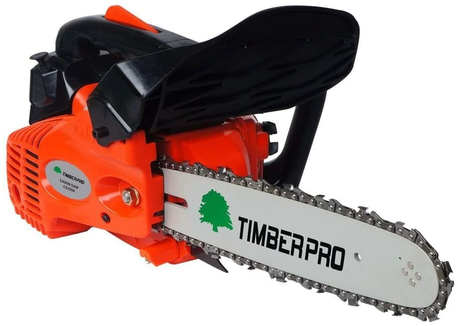 TIMBERPRO 26cc 10 Petrol Top Handle Topping Chainsaw with 2 Chain Saw Chains & Carry Bag